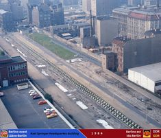 """East Berlin """"death strip"""" of the Berlin Wall, as seen from the Axel Springer AG Building, 1984 East Germany, Berlin Germany, Haunted Pictures, Zone Interdite, Ddr Brd, Berlin Wall Fall, City Pages, The Second City, West Berlin"""