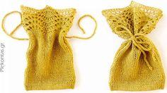 Οδηγίες για πλέξιμο μπομπονιέρας - πουγκί με βελόνες