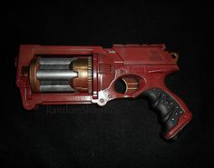 Red and Gold N-Strike Maverick Steampunk Gun, $40. SOLD, can be made again.