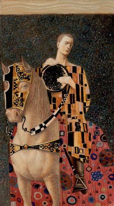 Le cavalier d'écus - Tarot de Klimt par A. Atanassov. Klimt is awesome, horses are awesome, you are awesome. Keep being awesome and looking fabulous.
