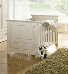 OLIVER Babybett Kiefer Massivholz/weiß gewachst - mit verstellbarem Lattenrost