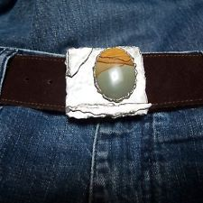 1970s Vtg Brown Suede Unisex Belt Jeweler Made Silver Statement Buckle Hip Belt