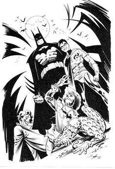 Batman, Robin, Scarecrow, Riddler & Joker by Norm Breyfogle Comic Art Dc Comics, Batman Comics, I Am Batman, Batman Robin, Black And White Comics, Comic Pictures, Comic Pics, Batman Universe, Dc Universe