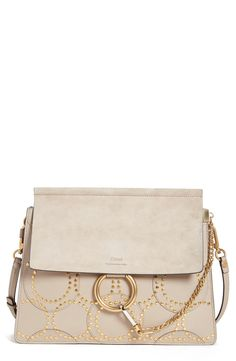 'Medium Faye' Studded Calfskin Shoulder Bag