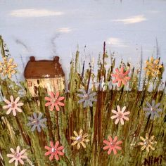 Wild Flowers Farm House Cottage Landscape  FOLK ART Matted