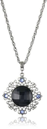 1928 Jewelry Hematite-Color and Colored Pendant Necklace - 1928, Colored, HematiteColor, Jewelry, Necklace, pendant http://designerjewelrygalleria.com/1928-jewelry/1928-necklaces/1928-jewelry-hematite-color-and-colored-pendant-necklace/