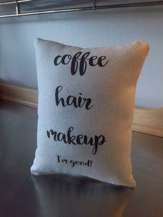 coffee pillow gift pillow for her cotton canvas throw pillow phrase cushion Christmas gift ideas apartment decor