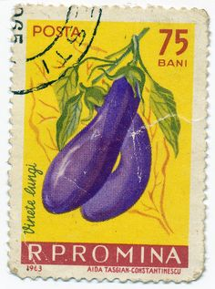 1963 Romanian Stamp - Eggplant by alexjacque, via Flickr