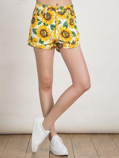 Yellow Sunflower Print High Waist Denim Shorts