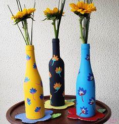 Wine Bottle Art, Diy Bottle, Wine Bottle Crafts, Jar Crafts, Kids Crafts, Painted Glass Bottles, Plastic Bottle Crafts, Painted Jars, Lighted Wine Bottles