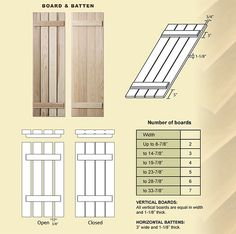 Board and Batten Shutters. Would add visual interest and quaintness to the house Outdoor Shutters, Cedar Shutters, Diy Shutters, Cottage Shutters, Exterior Shutters, Cottage Exterior, Homemade Shutters, Cafe Exterior, Farmhouse Shutters