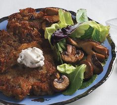 "Porcini Mushroom Latkes with Mushroom Salad and Chive ""Cream"" Recipe - Bon Appétit Porcini Mushrooms, Stuffed Mushrooms, Stuffed Peppers, Hanukkah Food, Hanukkah Recipes, Hanukkah 2019, Jewish Recipes, Hannukah, Cream Recipes"