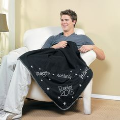 Personalized Embroidered Graduation Throw - OrientalTrading.com