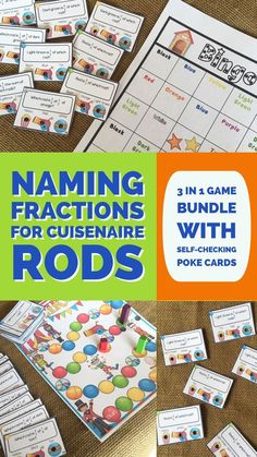Naming Fractions.  A rigorous set of fraction cards for Cuisenaire rods.  This set covers naming fractions including a fraction of a fraction.  Students have fun playing 3 different ways from bingo to board game to partnering up with friends for review.  Self-checking task cards give students room to work independently as well.