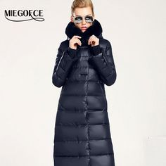 Women Coat Jacket Medium Length Woman Parka With A Rabbit Fur Winter Thick  Coat Women New Winter Collection Hot 86c21c52926