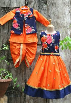 India fashion for kids - incredibly chic Kids Indian Wear, Kids Ethnic Wear, Baby Boy Dress, Baby Girl Dresses, Kids Dress Wear, Kids Wear, Kids Lehenga, Baby Lehenga, Kids Frocks Design