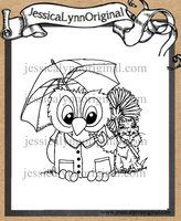Limited Edition Instant Download - JessicaLynnOriginal.com's Brentwood Owl© Singing in the Rain Celebrating our 11th Anniversary Digital Rubber Stamp