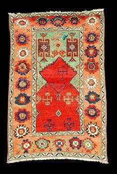 A fabulous mid 19th century Konya prayer rug.