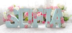 Discover recipes, home ideas, style inspiration and other ideas to try. Floral Letters, Diy Letters, Wood Letters, Birthday Diy, Girl Birthday, Name Decorations, Shaby Chic, Unicorn Party, Baby Decor