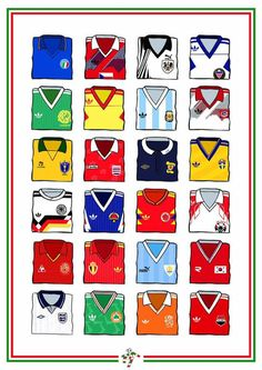A design inspired by Italia 90 shirts. Prints available in each signed and numbered. Fifa Football, Retro Football, Football Design, Football Kits, Vintage Football, Football Cards, Soccer Kits, Kids Soccer, History Of Soccer