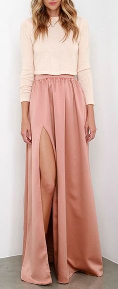 Two Pieces Prom Dress,Split Prom Dress,Long Sleeves Prom