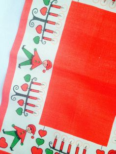 50s vintage swedish retro christmas tablecloth with a cute pattern. scandinavian design