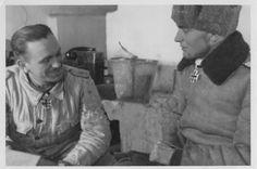 """Kurt """"Panzermeyer"""" Meyer and Max Wünsche in Kharkov, 1943."""