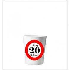 132 -  Geburtstagsgeschenk 20 Pflanzentopf ohne Pflanze Happy 20th Birthday, Shot Glass, Tableware, Birth, Plants, Gifts, Dinnerware, Tablewares, Dishes