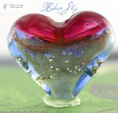 New! Rubino Sky Heart Focal handmade glass lampwork bead with fine silver | beadsandbotanicals - Beads on ArtFire