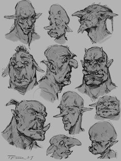 Just some personal sketch work. Some interpretations of what of what orcs, goblins and trolls might look like. Fantasy Character Design, Character Design Inspiration, Character Art, Monster Sketch, Monster Drawing, Creature Concept Art, Creature Design, Character Sketches, Art Sketches