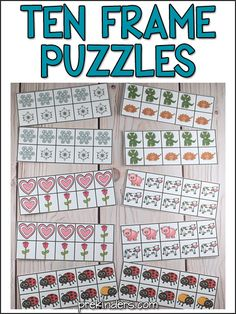 These Ten Frame Puzzles help teach kids number concepts. Kids will put the puzzles together to make the 10 frames complete. Free printable activity, ages 4+