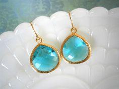 18$ each -- Teal Earrings Blue Earrings Gold Earrings Gift for by LisaDJewelry