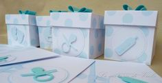 Bomboniera scatolina portaconfetti a pois azzurri per battesimo nascita baby shower, by Le cartasie di Viola, 1,50 € su misshobby.com