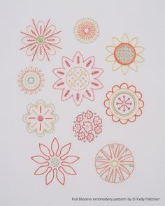 Pattern for 10 hand embroidered floral motifs