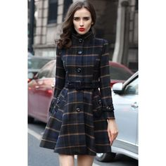 Fashion Plaid Button Down Belted Coat ($48) ❤ liked on Polyvore featuring outerwear, coats, belt coat, tartan coat, coat with belt, lapel coat and button up coat