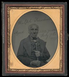 Ralph Farnham, Ambrotype, 7 July 1858  Visible oval image: 7.0 cm x 6..2 cm; in case: 9.4 cm x 8.2 cm    This ambrotype, taken on 7 July 1858, depicts Ralph Farnham, a Revolutionary War veteran and resident of Acton, Maine, on his 102nd birthday.   During the final years of his life, Farnham was celebrated in Boston and across the country as the last survivor of the Battle of Bunker Hill and one   of the few living veterans of the Revolutionary War.