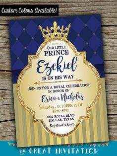 Príncipe bebé ducha invitación / real por TheGreatInvitation