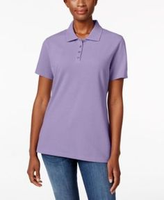 Karen Scott Short-Sleeve Polo Top, Created for Macy's - Purple XXL