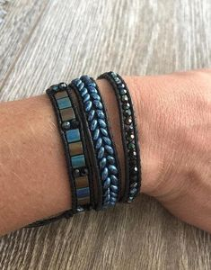 Items similar to Beaded Leather Wrap Bracelet-Black on Etsy - - Items similar to Beaded Leather Wrap Bracelet-Black on Etsy Wrap bracelets Perlen Leder Wickel Armband-Schwarz Diy Leather Bracelet, Beaded Wrap Bracelets, Bracelets For Men, Crochet Bracelet, Cord Bracelets, Pandora Bracelets, Silver Bracelets, Beaded Leather Wraps, Leather Cuffs