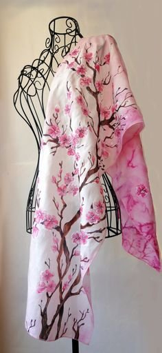 "Hand painted silk scarf - ""Sakura""- flower scarf-cherry tree scarf-pink scarf-Cherry blossoms (75.00 USD) by JoannaArtDesign"
