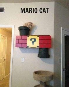 Super Mario Cat Condo too cool. Crazy Cat Lady, Crazy Cats, Super Mario Cat, Cat Climber, Cat Room, Cat Condo, Cat Furniture, Office Furniture, Office Decor