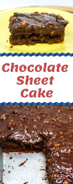 This Chocolate Sheet Cake recipe is ridiculously good! The chocolate cake is rich and moist while the chocolate icing is utterly fudgy and decadent. Sheet Cake Pan, Sheet Cake Recipes, Chocolate Cake Frosting, Delicious Desserts, Yummy Recipes, Yummy Food, Cake Batter, Stick Of Butter, Holiday Desserts