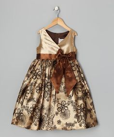 Take a look at this Brown Velvet Flocked Dress - Toddler by Kid's Dream on #zulily today!