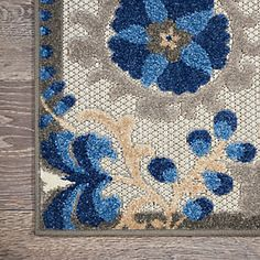 Nourison Aloha 10' Runner Blue Patio Area Rug | Ashley Furniture HomeStore Outdoor Area Rugs, Floral Runner, Nourison, Outdoor Rugs, Shades Of Gold, Rugs, Summer Shades, Indoor Outdoor Area Rugs, Floral Area Rugs