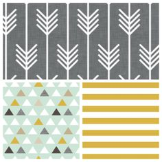 crib bedding set Gray gold mint Modern Woodland by BLVD67 on Etsy, $25.00