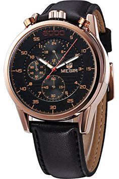 Megir Sports Chronograph Mens Military Cool Black Leather Quartz Watches * Details can be found by clicking on the image. (Note:Amazon affiliate link) #CoolandAffordableWatches