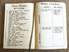 J'ai testé le brainwashing dans le bullet + matrice d'Einsenohwer Bullet Journal Fait, Bullet Journal Hacks, Bullet Journal Printables, Journal Fonts, Journal Notebook, Journal Pages, Journaling, Journal Ideas, Bujo Planner