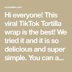 Hi everyone! This viral TikTok Tortilla wrap is the best! We tried it and it is so delicious and super simple. You can add anything you like and it is ready ... Breakfast Tortilla, Tortilla Wraps, Super Simple, Bananas, Marshmallow, Nutella, The Creator, Good Things, Canning