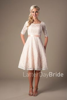 The Reagan |     This lovely modest prom dress features a full lace pattern, a slimming waistband, and a soft sweetheart neckline.    Dress available in Mint or Peach    Dress shown in Peach    Available at LatterDayBride.com or in Store At Latter Day Bride Located in Salt Lake City, Utah