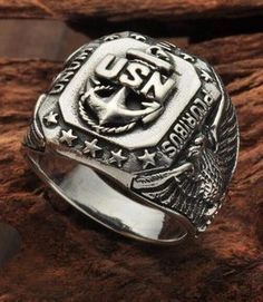 Men's Sterling Silver US Navy Ring $28.5